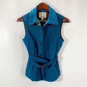 Faconnable XS Vest Button Front Quilted Lined Belt